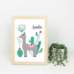 Personalised Wall Art Print for bedroom  - Alpaca Girls - Available as a print only