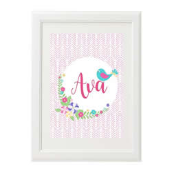 Personalised Wall Art Print for bedroom  - Blue Bird Girls - Available as a print only