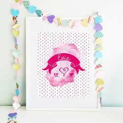 Personalised Wall Art Print for bedroom - Fairy Floss - Available as a print only