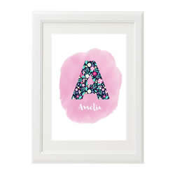 Personalised Wall Art Print for bedroom  - Floral initial
