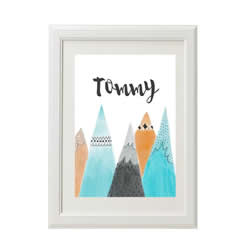 Personalised Wall Art Print for bedroom - Mountain - Available as a print only