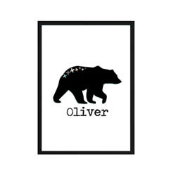 Personalised Wall Art Print for bedroom - Mountain Bear - Available as a print only