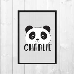 Personalised Wall Art Print for bedroom - Panda Personalised - Available as a print only