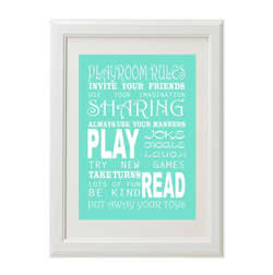 Personalised Wall Art Print for bedroom - Playroom Rules - Available as a print only