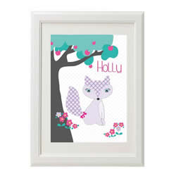 Personalised Wall Art Print for bedroom - Purple Fox Girl - Available as a print only
