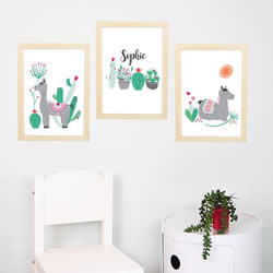 Personalised Wall Art Print for bedroom - Alpaca Dessert Girls- Set of 3