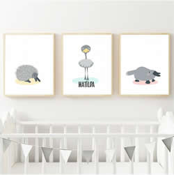 Personalised Wall Art Print for bedroom - Echidna Emu & Platypus Australian Animal - Set of 3