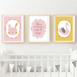 Personalised Wall Art Print for bedroom - Bunny & Swan - Set of 3