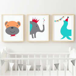 Personalised Wall Art Print for bedroom - Circus Animal Nursery - Set of 3