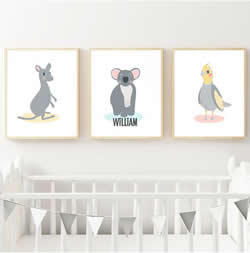 Personalised Wall Art Print for bedroom - Kangaroo Koala & Cockatiel  Australian Animal - Set of 3