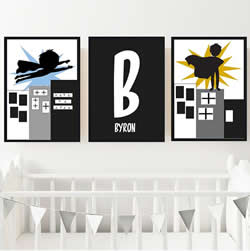 Personalised Wall Art Print for bedroom - Monochrome Superhero - Set of 3