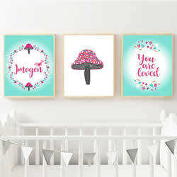 Personalised Wall Art Print for bedroom - Toadstool & Floral Girls  - Set of 3
