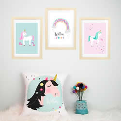 Personalised Wall Art Print for bedroom - Unicorn & Rainbow Girls - Set of 3