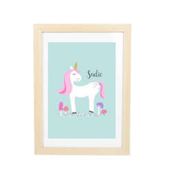 Personalised Wall Art Print for bedroom - White Unicorn - Available as a print only