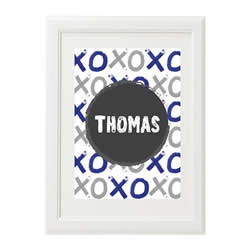 Personalised Wall Art Print for bedroom - XO Boys Navy - Available as a print only