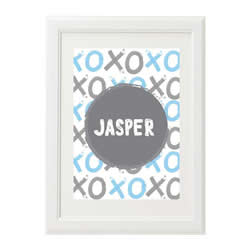 Personalised Wall Art Print for bedroom - XO Boys Pale Blue - Available as a print only