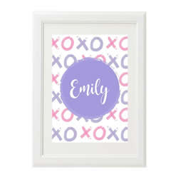Personalised Wall Art Print for bedroom - XO Girls Lilac - Available as a print only