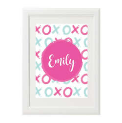 Personalised Wall Art Print for bedroom - XO Girls Pink - Available as a print only