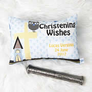 Personalised Christening Cushion for Boys - Owl Design