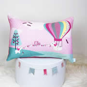 .Personalised Cushion for kids - Girls Elephant and Hot Air Balloon Design