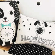 .Personalised Cushion for kids -  Monochromatic Puppy Design