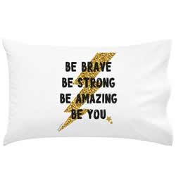 .Personalised Kids Pillowcase - Be Brave Lightening Bolt