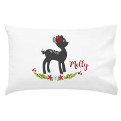 .Personalised Kids Pillowcase - Christmas Fawn
