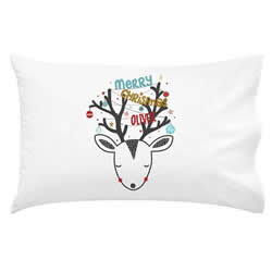 .Personalised Kids Pillowcase - Christmas Reindeer