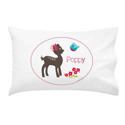 .Personalised Kids Pillowcase - Girls Woodland Fawn