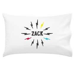 .Personalised Kids Pillowcase - Lightening Bolt