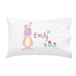 .Personalised Kids Pillowcase - Pink Bunny Girls