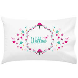 .Personalised Kids Pillowcase - Pink Toadstool