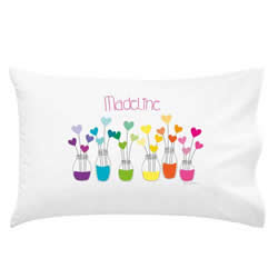 .Personalised Kids Pillowcase - Rainbow Hearts