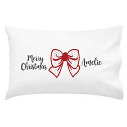 .Personalised Kids Pillowcase - Red Christmas Bow
