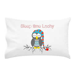 .Personalised Kids Pillowcase - Sleep Time Owl Boys