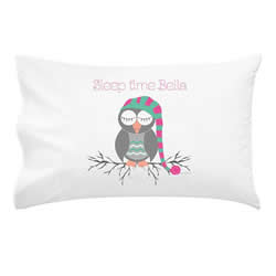 .Personalised Kids Pillowcase - Sleep Time Owl Girls