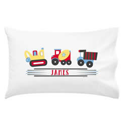 .Personalised Kids Pillowcase - Trucking Along