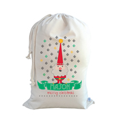 .Christmas Santa Sack Personalised - Blue Santa Gnome Design