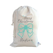 .Christmas Santa Sack Personalised - Bow - Mint