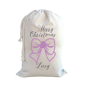 .Christmas Santa Sack Personalised - Bow - Orchid