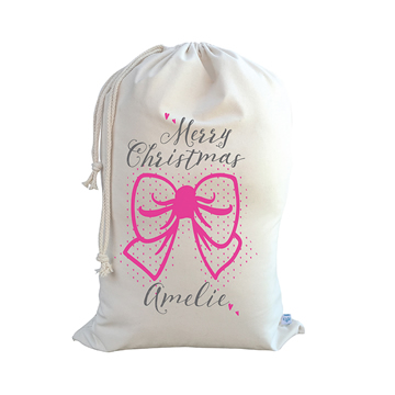 .Christmas Santa Sack Personalised - Bow - Pink
