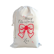 .Christmas Santa Sack Personalised - Bow - Red