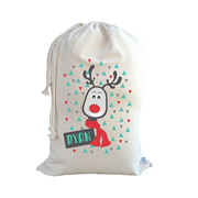 .Christmas Santa Sack Personalised - Reindeer Design