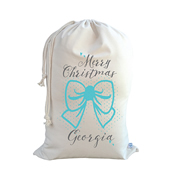 .Christmas Santa Sack Personalised - Bow - Turquoise