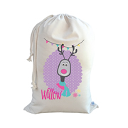 .Christmas Santa Sack Personalised - Girls Reindeer