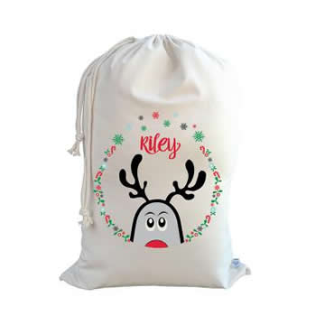 .Christmas Santa Sack Personalised - Peeping Up Reindeer