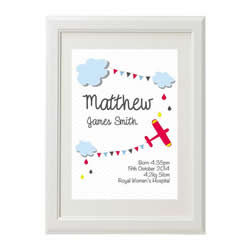 Personalised Birth Print for bedroom  - Boys Sky High - Available as a print only