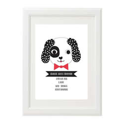 Personalised Birth Print for bedroom  - Boys Spotty Puppy - Available as a print only