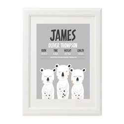 Personalised Birth Print for bedroom  - Boys Three White Bears - Available as a print only