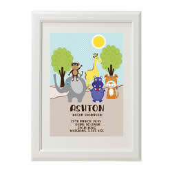 Personalised Birth Print for bedroom  - Boys Zoo Animal - Available as a print only